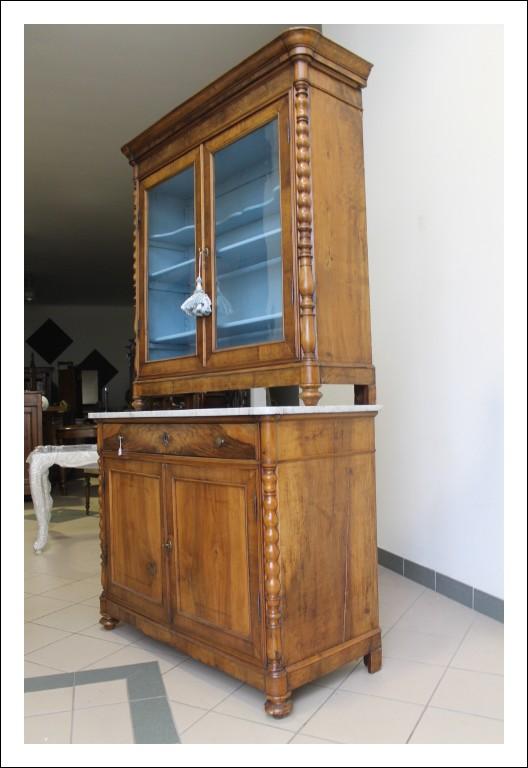 Credenza Vetrina Libreria Piemonte. Noce epoca 1840 dispensa cristalliera Carlo x