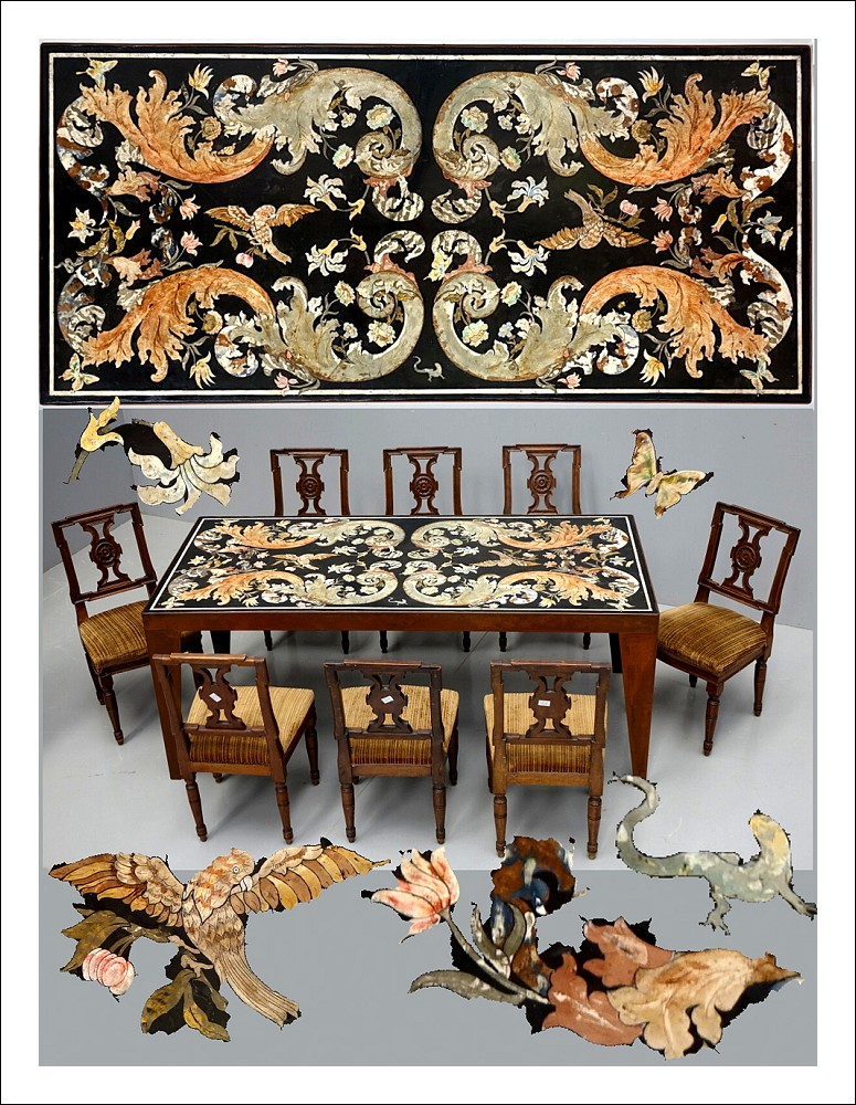 Piano in scagliola montato su tavolo   0550018