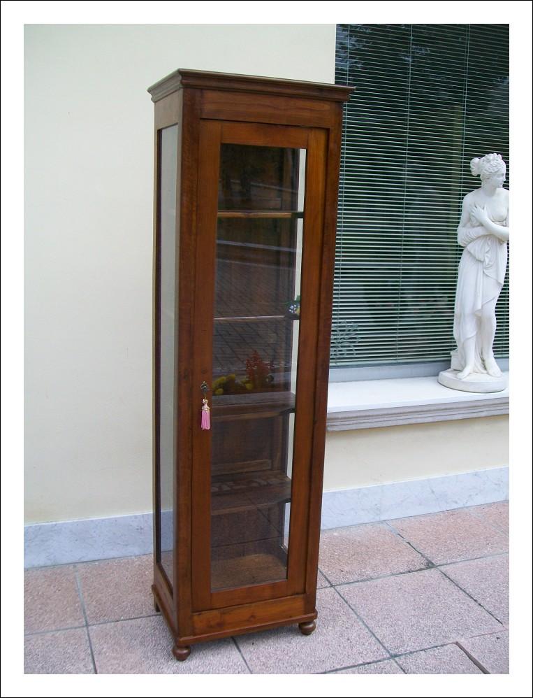 Vetrinetta ,cristalliera libreria a colonna emiliana massella in noce e olmo 193hx37px57l