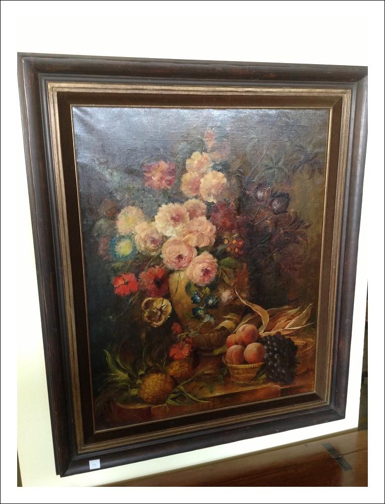 Dipinto olio su tela 'natura morta con fiori'