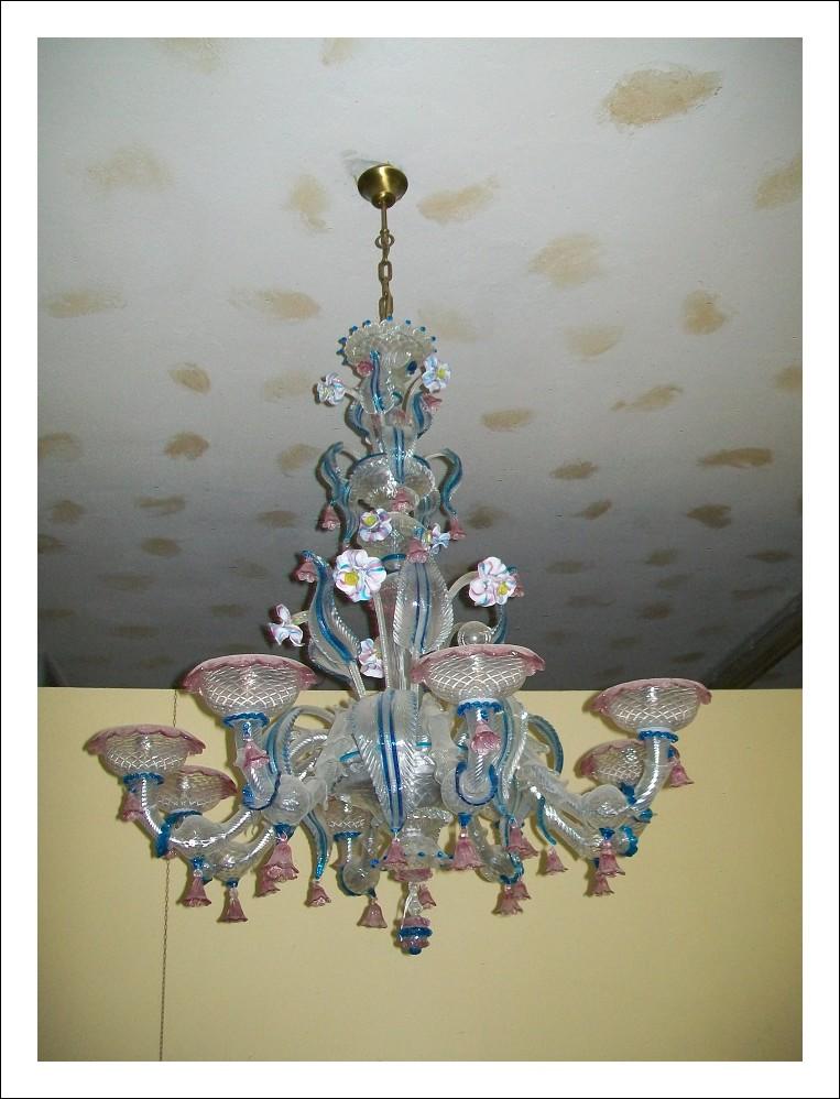Lampadario di murano tipo pauly 8 luci   110diametro  170cm altezza