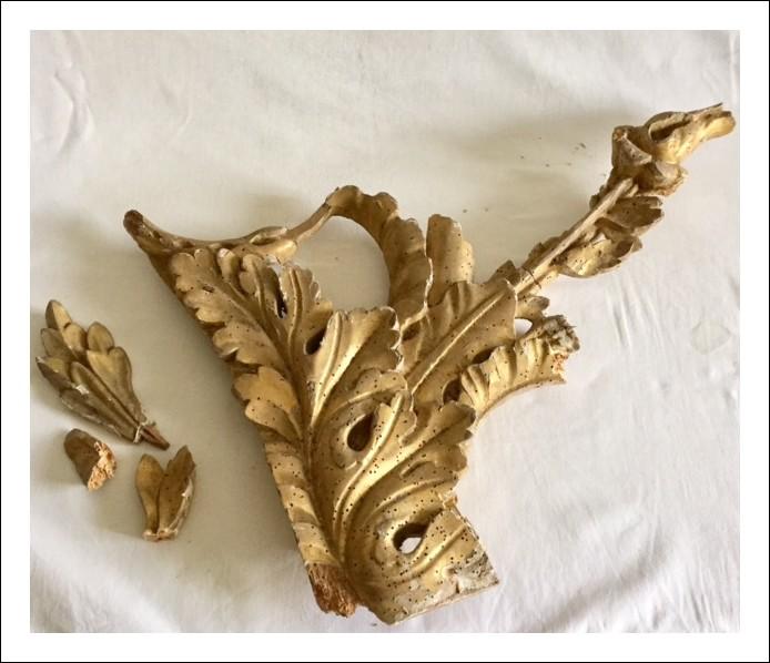 Fregio frammento di cornice il legno dorato XVIII sec.