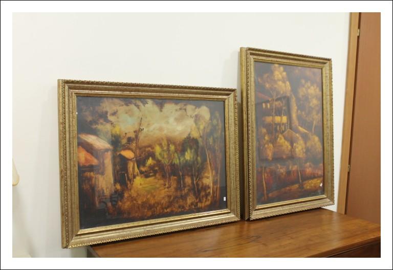 Coppia dipinti campagne ROMANE E VIA PANAMA, olio su tela firmato !! XX secolo.