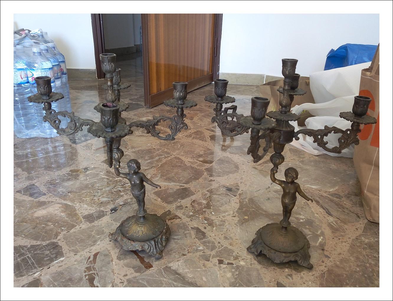 Coppia candelabri in bronzo