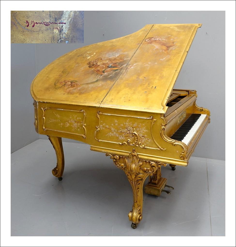 Pianoforte dorato Schimmel leipzig per compositore Mario Cantù dipinto Manzoni 1923