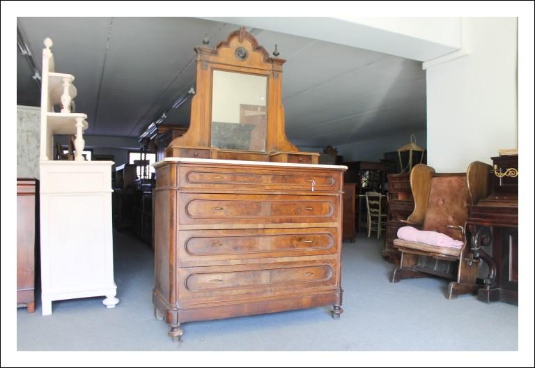 Antico Cassettone comò con marmo e alzata a specchio Luigi Filippo 1880! Noce Antiquariato Cassetti