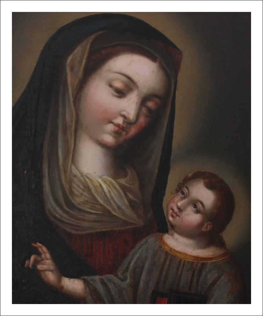 Dipinto antico olio su rame raffigurante Vergine con Bambino periodo XIX sec