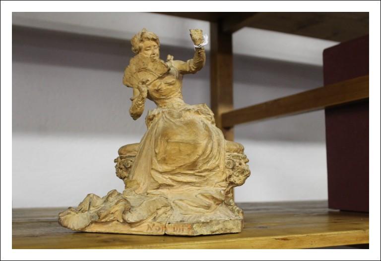 Antica damina in terracotta da eredità ! da eredità scultura Antiquariato