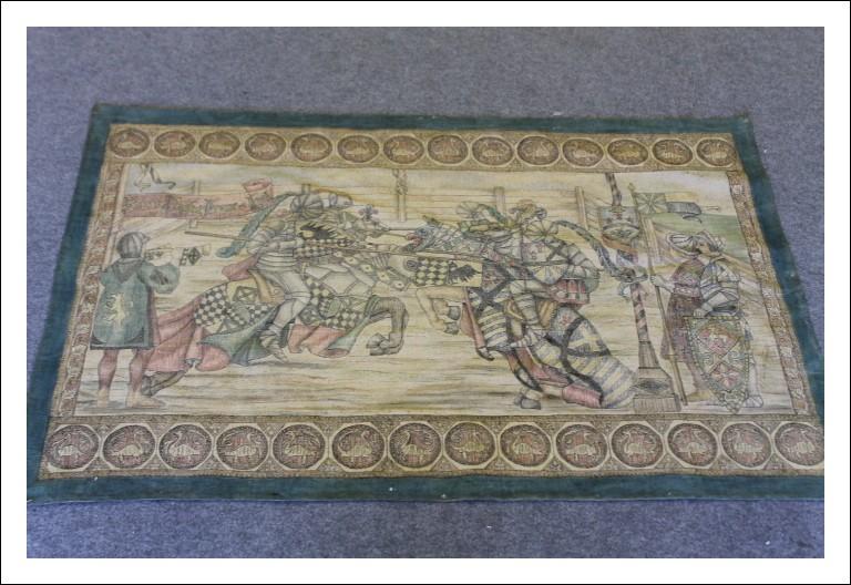 Succo erba primi 900 dipinto si tessuto !! Arazzo antico  - antiquariato da eredità Scena Battaglia