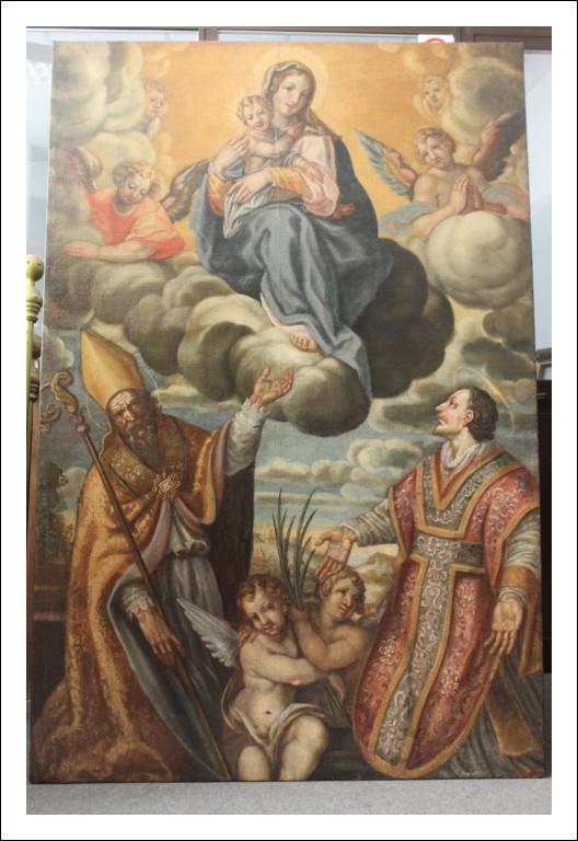 Antico dipinto scuola toscana XVII tela grandissime dimensioni raffigurante la vergine con santi e