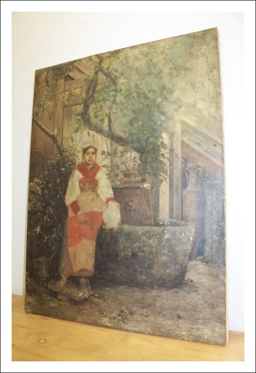 Dipinto olio su tela scena campagnola fine 800 proveniente da eredità ! Quadro antico scorcio di pa