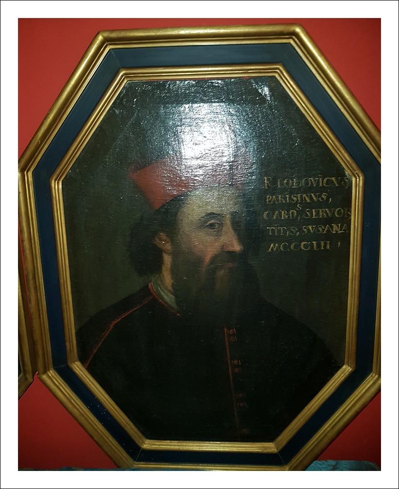 Dipinto antico ritratto cardinale epoca 700
