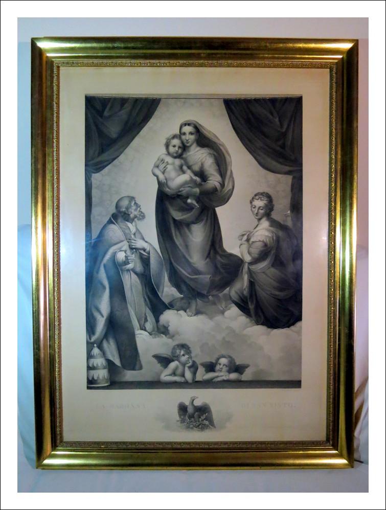 Incisione Madonna di San Sisto 1850 di H. Felsing