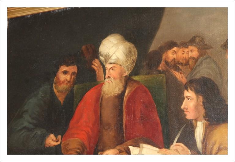 Dipinto mercanti epoca 800 personaggi interno! Olio su tela . provenienza Fiandre .Antico Antiquari