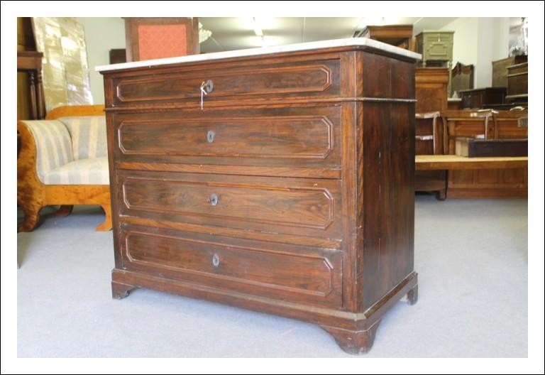 Antico cassettone in castagno massello fine 800 cassettiera marmo!Comò Antiquariato L. Filippo Itali