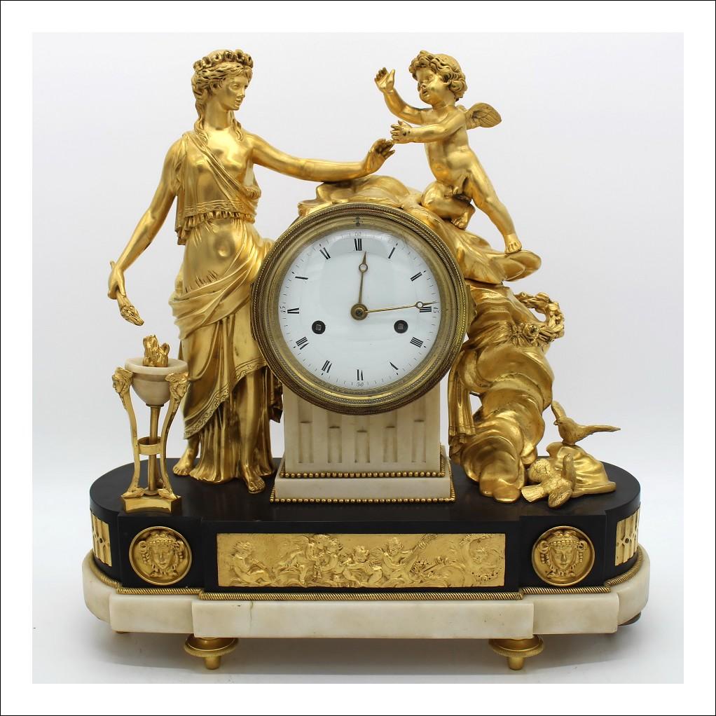 Antico Orologio a Pendolo Luigi XVI in bronzo dorato e marmo - epoca 700