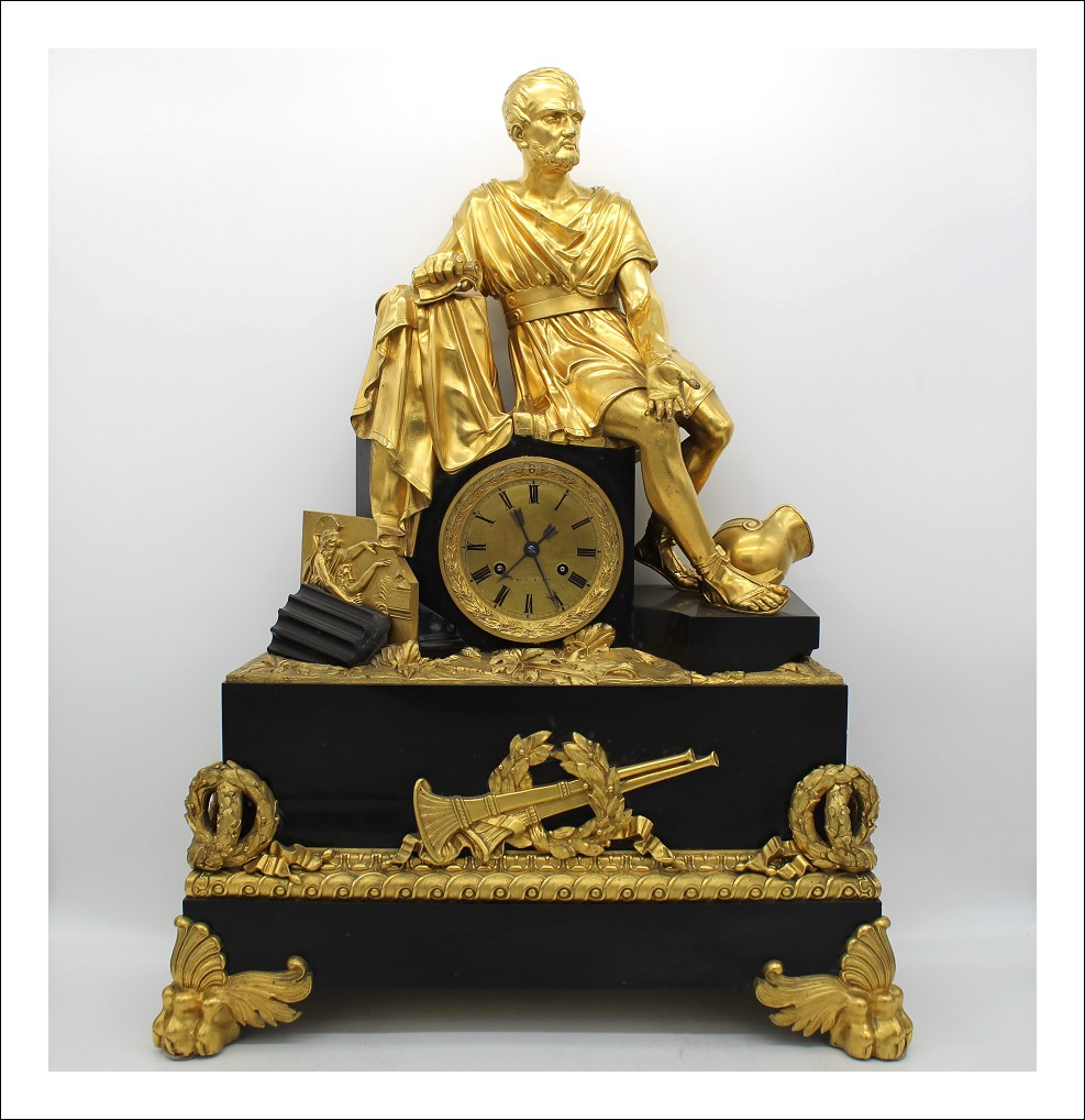 Antico grande Orologio a Pendolo Luigi Filippo in bronzo dorato e marmo - epoca 800