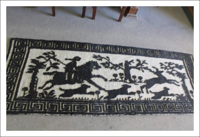 Antico arazzo tappeto Sardo , primi 900 raffigurante scena natura – caccia . Antiquariato