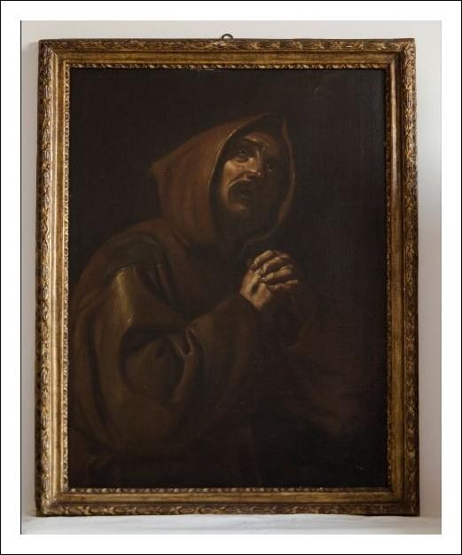 Dipinto a olio. San Francesco orante. fine XVII secolo