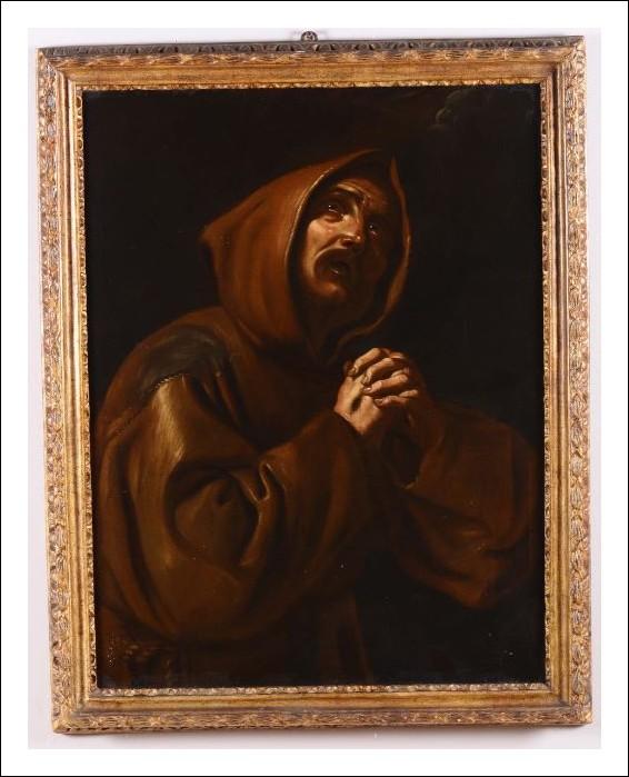 Dipinto olio su tela San Francesco orante XVII secolo