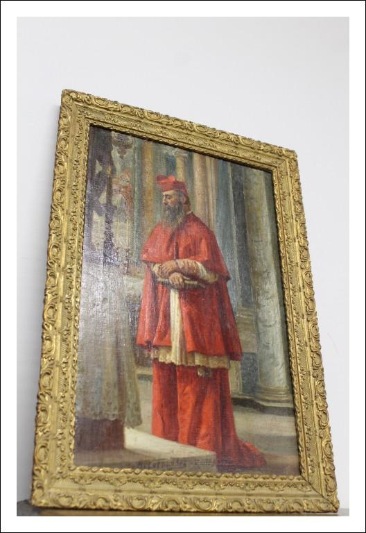 Dipinto sacro Cardinale fine 800 firmato A. fernandez. Olio su tela quadro antico antiquariato .