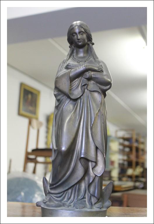 Antica  Statua Madonna in Bronzo epoca fine 800 , cm 40 Alta qualità Antiquariato .