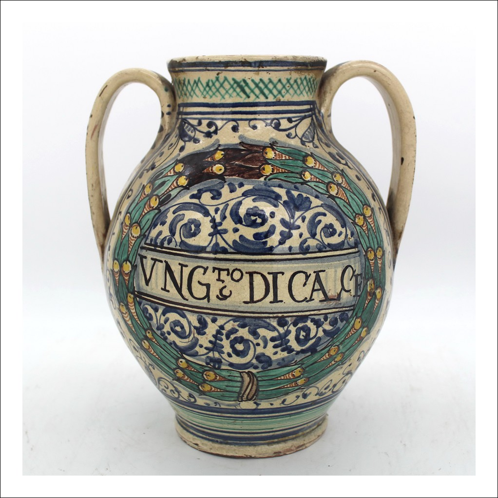 Antico Vaso farmacia in Maiolica ceramica - Italia epoca 700