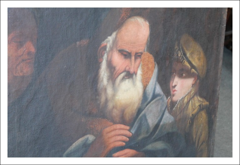 """Dipinto scuola veneta epoca XVIIsec grande olio tela  """"circoncisione ebraica """" . Quadro luce """"Carava"""