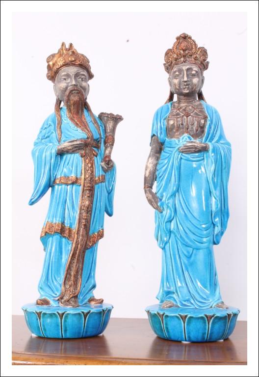 Antica Coppia statue in maiolica  cm 62 giapponesi manifattura Zaccagnini Ugo Firenze anni 50 . fir