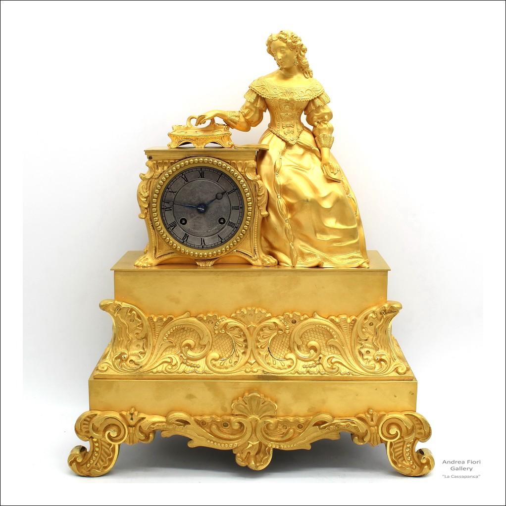 Antico Orologio a Pendolo Carlo X in bronzo dorato - epoca XIX secolo