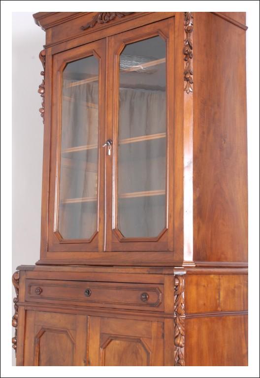 Antica Libreria Vetrina Cristalliera 1840 L. Filippo Toscana rest. Antiquariato Credenza Doppio Cor