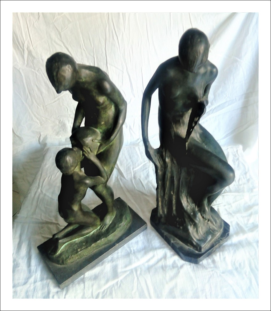 coppia statue bronzo inizi 900