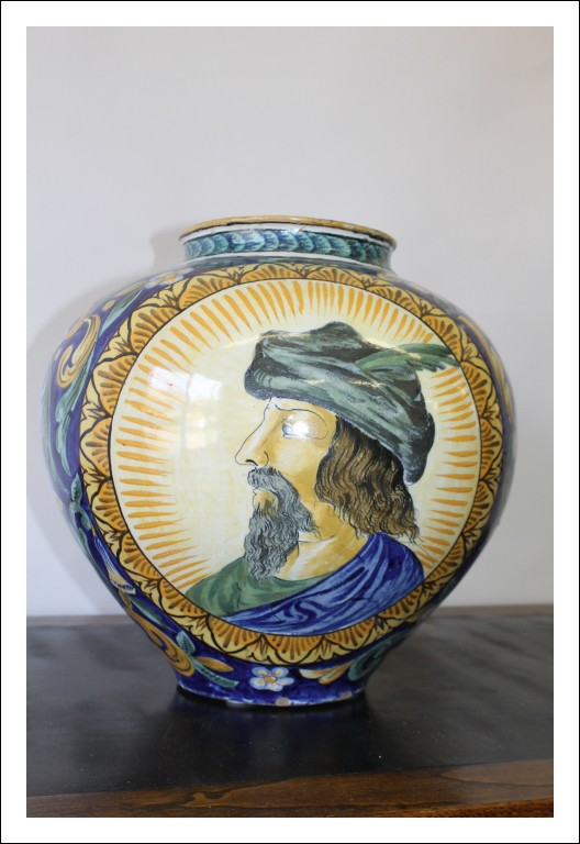 Vaso antico  Boccia in maiolica Sicilia Caltagirone, metà 800. Antiquariato circonferenza 113 cm Or