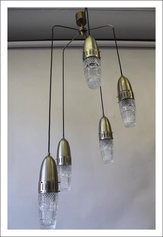 Lampadario Chandelier a sospensione 5 luci modernariato anni 60 Space Age vintage restaurato ! Crom