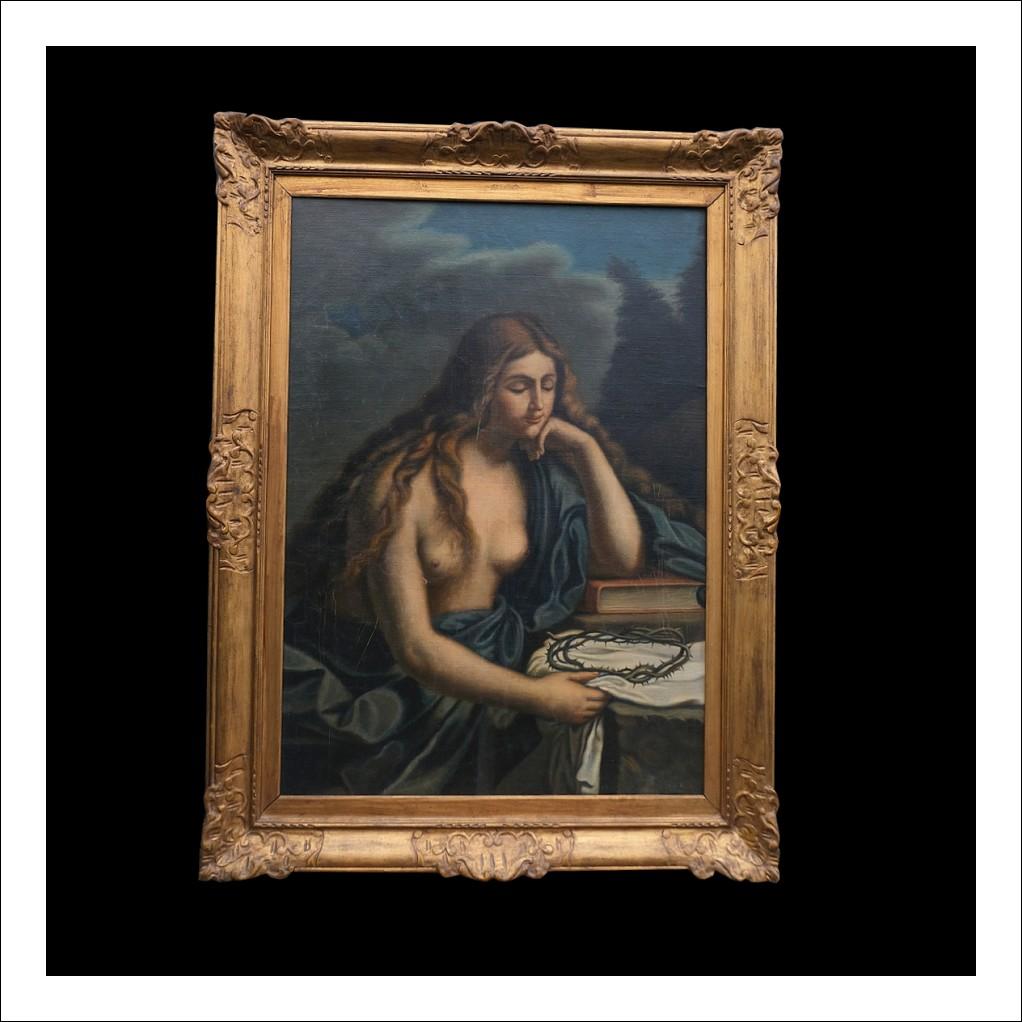 Dipinto antico olio su tela raffigurante '' La Maddalena''