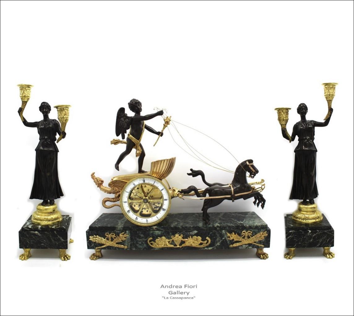 Antico trittico Orologio Pendolo con Coppia di Candelabri II° Impero in bronzo e marmo-epoca XIX sec