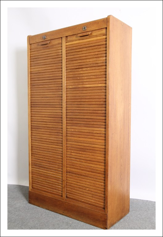 Serrandina art deco! 1940 Schedario mobile rullo classificatore! Libreria credenza restaurata. Vint