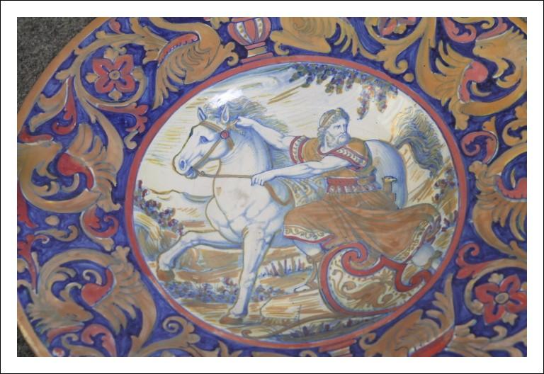 """Piatto Santarelli """" Alessandro Magno """" Gualdo Tadino ,Antico Antiquariato maiolica."""