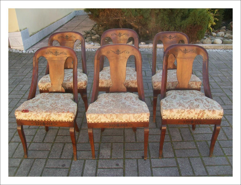 Gruppo di sei sedie in stile Impero a Gondola di epoca primi '800.