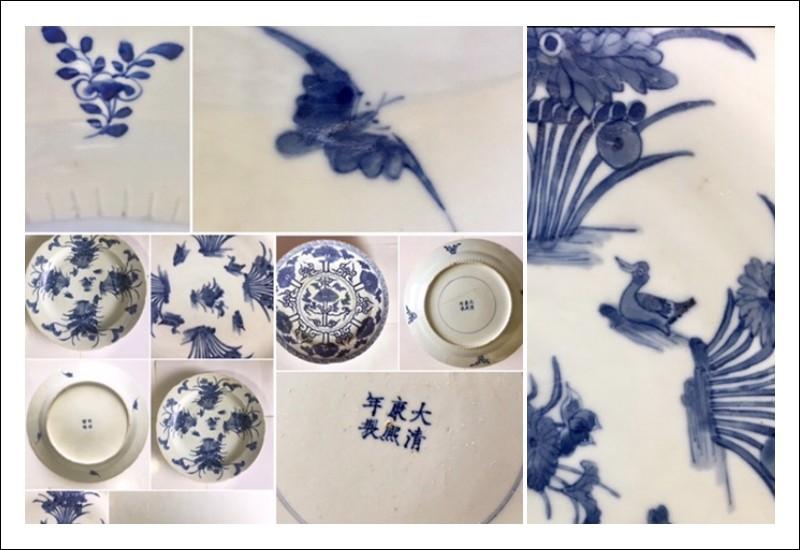 2 Piatti Kangxi 1662-1722 , e Jin Tang Fa Ji taglia 37 cm decorato con anatre