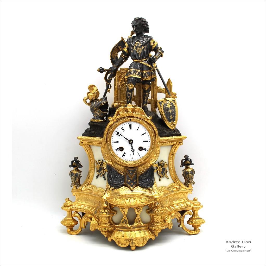 Antico Orologio a Pendolo Luigi Filippo in bronzo dorato e marmo - epoca XIX secolo