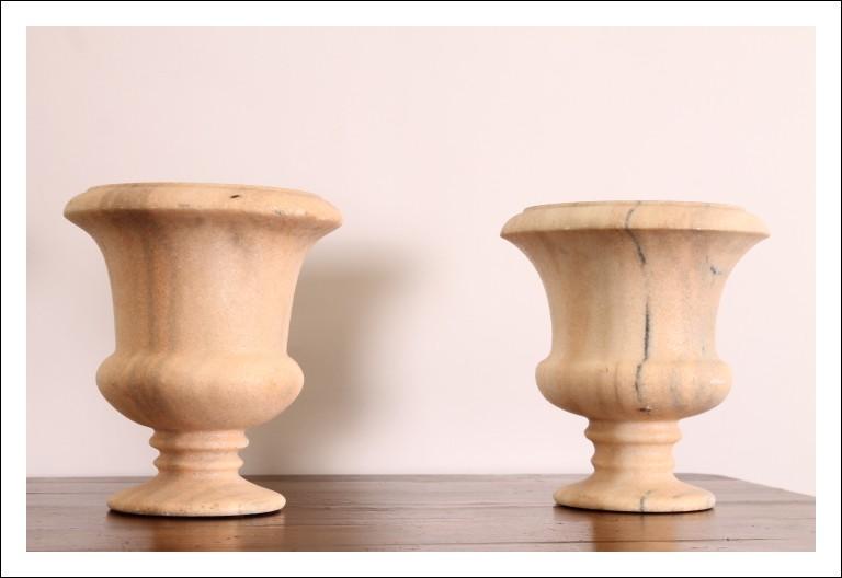 Coppia di splendidi antichi Vasi in Marmo rosa dell 800. Antiquariato