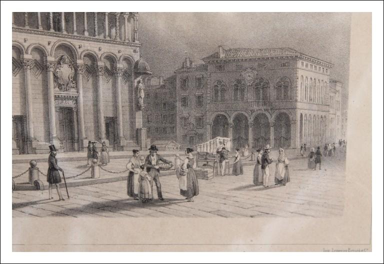 Antica stampa città Lucca cattedrale San Michele  .Italia epoca 800 in cornice