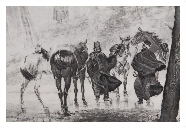 """Antica stampa raffigurante soldati a Cavallo . """"L ' attaccoâ€. Italia epoca 800 in cornice"""
