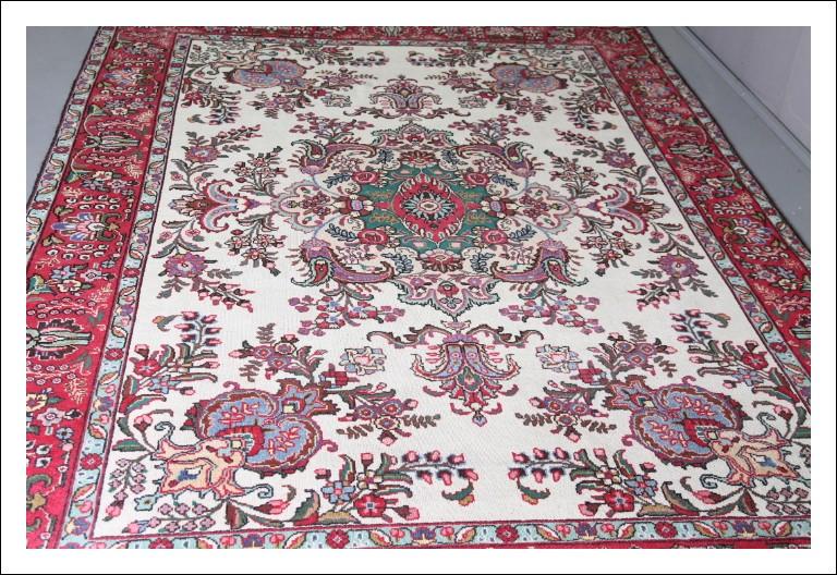 """Tappeto Persiano manifattura """"Tabriz†grande qualità !!! cm 305 x cm 198 Fondo bianco con floreali e"""