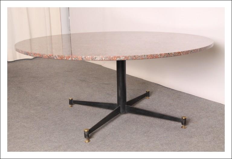 Tavolo da salotto Modernariato anni 50 ottone e Granito rosa! Pezzo originale vintage dal design un
