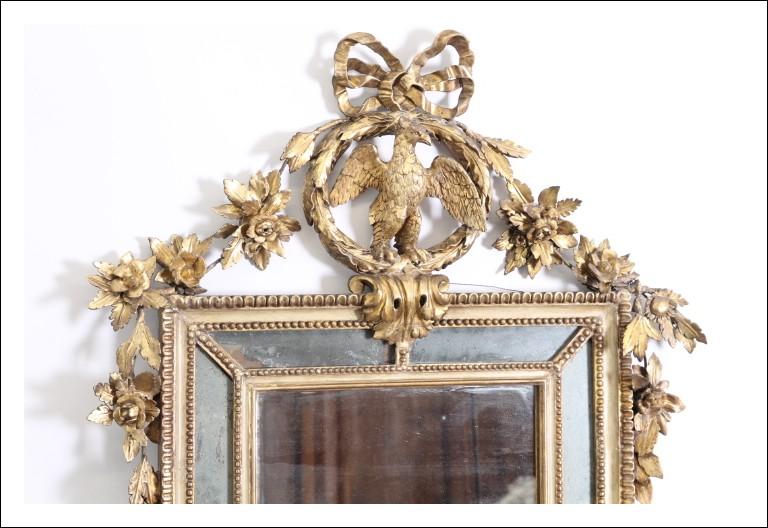 Antica Specchiera  Impero metà 800 Genova foglia oro e lacca con fregi e Aquila !Antiquariato specch