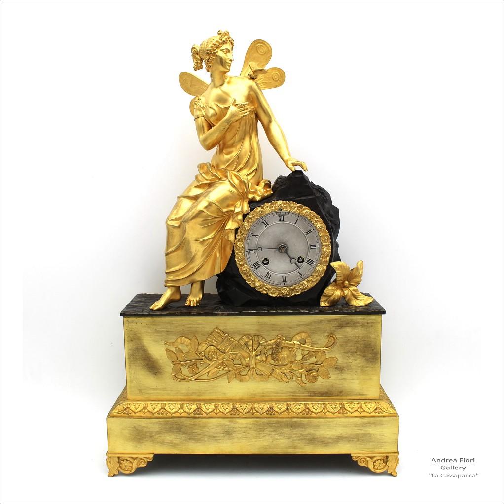 Antico Orologio a Pendolo Carlo X (Restaurazione) in bronzo dorato - epoca XIX secolo