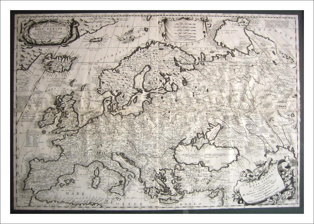 V,M, CORONELLI - VENEZIA 1690 - Due fogli intonsi, Incorniciati insieme-