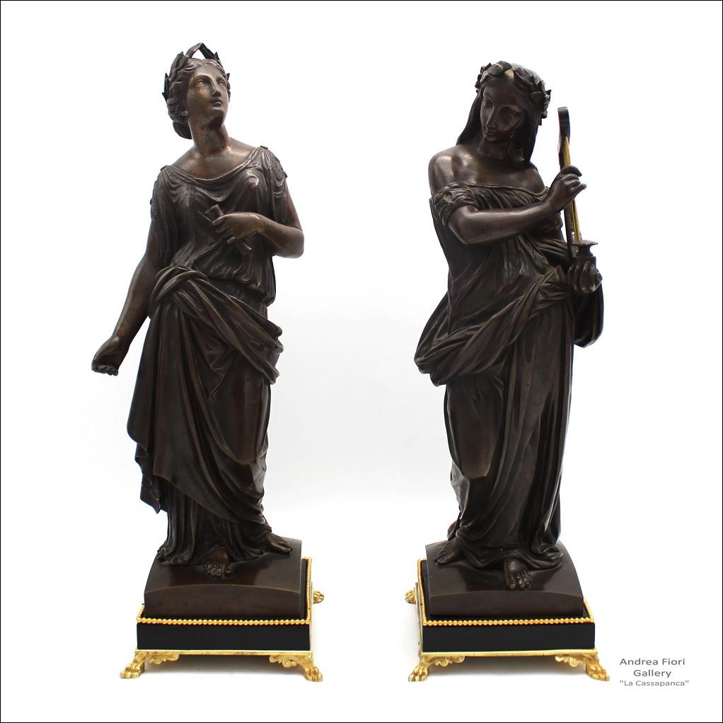 Antica Coppia di Bronzi Napoleone III le Muse Clio e Tersicore - XIX secolo